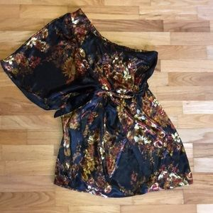 Black with floral pattern one sleeve mini dress